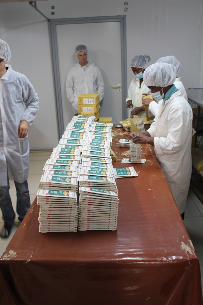 Factory workers making chocolate bars in Madagascar