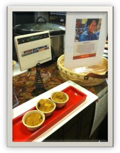 Three samples of food made from the cookbook Liberation Soup, featuring recipes by microcredit clients