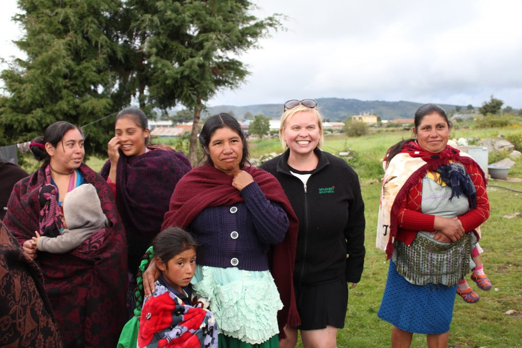 gayle grindley of seventh generation unilever with microcredit clients in guatemala