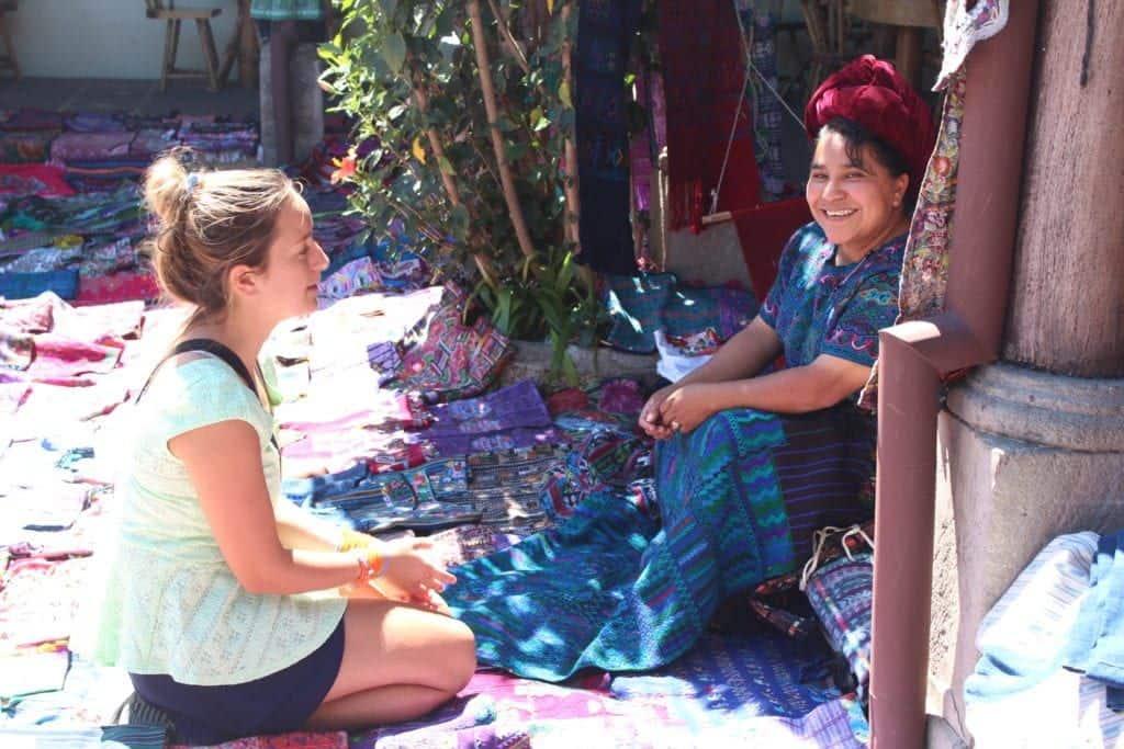 meeting with guatemalan artisan woman and fabrics