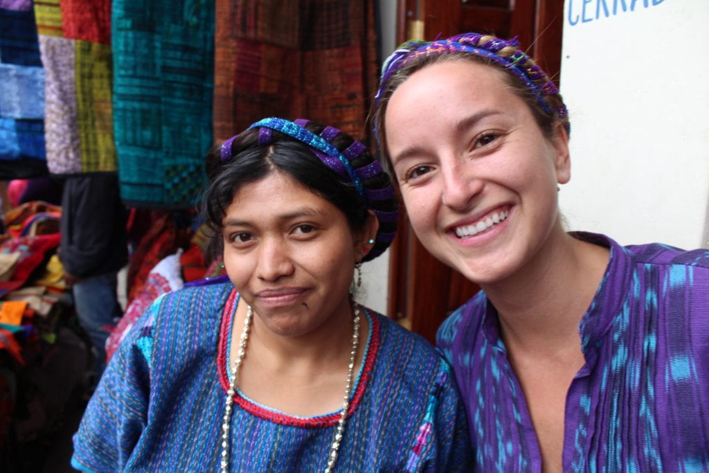 sophie in guatemala with artisan woman